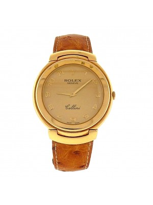 Men's 18k Solid Gold Rolex Cellini Gold Face Arabic Numeral Original Dress Watch