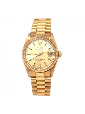 Rolex Vintage Datejust 18k Yellow Gold Fluted Bezel Automatic Ladies Watch 6827