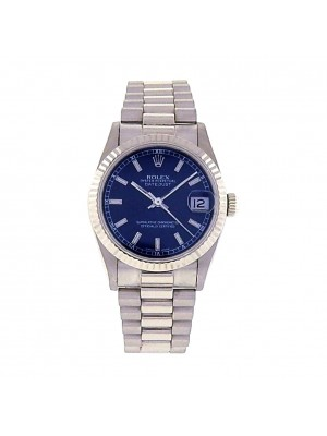Unisex White Gold Rolex DateJust President Midsize Blue Dial Auto Dress Watch
