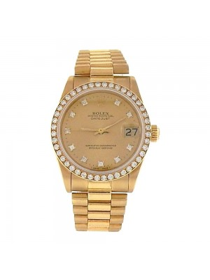 Rolex Datejust 18K Yellow Gold Diamond Bezel & Markers Automatic Watch 68288