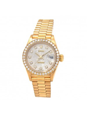 Rolex Datejust W Serial 18K Yellow Gold & Diamonds Automatic Ladies Watch 69138