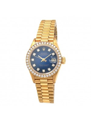 Rolex Datejust (L Serial) 18k Yellow Gold Diamond Bezel Automatic Watch 69138