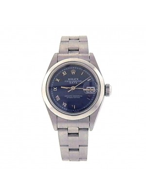 Rolex Date 69160 Stainless Steel Oyster Automatic Blue Ladies Watch