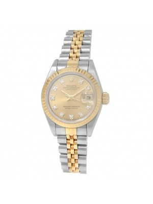 Rolex Datejust 18k Yellow Gold Stainless Steel Diamonds Champagne Watch 69173