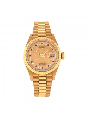 Rolex Datejust 18K Yellow Gold Fluted Bezel Diamond Dial Automatic Watch 69178