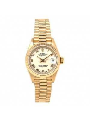 Rolex Datejust 18k Yellow Gold Fluted Bezel Presidential Band Automatic 69178