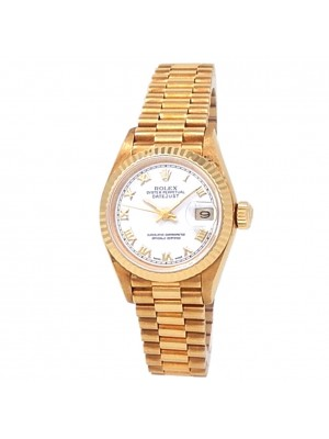 Rolex Datejust 18k Yellow Gold President Automatic White Ladies Watch 69178