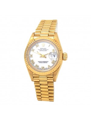 Rolex Datejust 18k Yellow Gold Fluted Bezel Roman Numerals Automatic Watch 69178