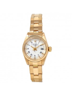 Rolex Date 18k Yellow Gold Oyster Automatic White Ladies Watch 6917