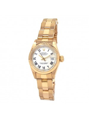 Rolex Datejust 18k Yellow Gold Oyster Automatic White Ladies Watch 6917