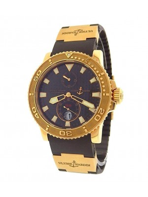 Ulysse Nardin Marine Diver 266-33 18K Yellow Gold Rubber Auto Black Men's Watch