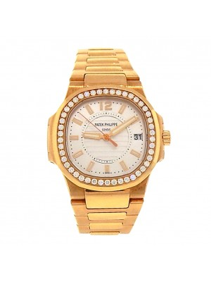 Patek Philippe Nautilus 7010/1R-001 Rose Gold Quartz Diamonds Silver Lady Watch