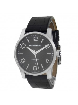Montblanc Timewalker Stainless Steel Leather Automatic Black Men's Watch 7070
