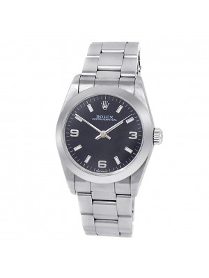 Rolex Oyster Perpetual Stainless Steel Oyster Auto Black Midsize Watch 77080