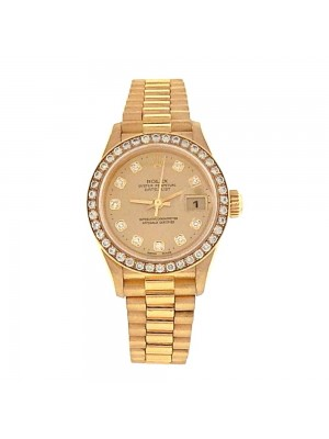 Rolex Datejust 18K Yellow Gold Diamond Bezel & Markings Automatic Watch 79138