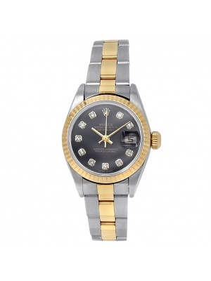 Rolex Datejust 18k Yellow Gold Steel Diamonds Auto Black Ladies Watch 79173