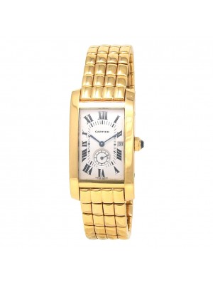Cartier Tank Americaine 18k Yellow Gold Swiss Quartz Ladies Watch 8012905