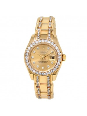 Rolex Datejust 18k Yellow Gold Pearlmaster Auto Champagne Ladies Watch 80298