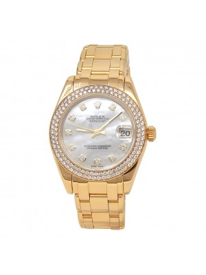 Rolex Datejust Pearlmaster 18k Yellow Gold Diamond Bezel Ladies Watch 81338