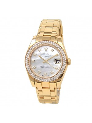 Rolex Datejust Pearlmaster 18k Yellow Gold Diamonds Mother of Pearl Watch 81338