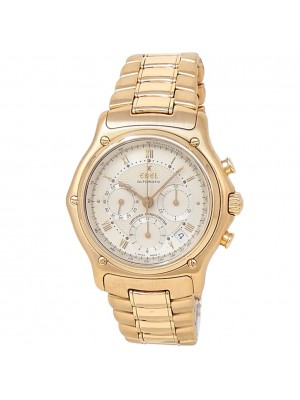 Ebel 1911 18k Yellow Gold Automatic Chronograph Silver Men's Watch 8137241
