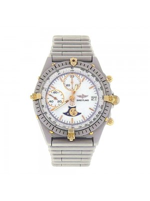 Breitling Chronomat 18k Yellow Gold & Stainless Steel Automatic Watch Mens 81950