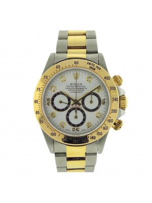 Rolex Cosmograph Daytona S Serial 16523 Steel Gold Diamond Marker 40mm Watch