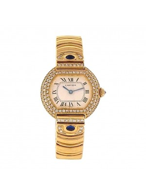 Cartier Ellipse Diamond Bezel 18K Yellow Gold Swiss Quartz Ladies Watch 8660