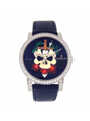 Corum Skull 18k White Gold Diamond Bezel Automatic Men's Watch 982.202.69