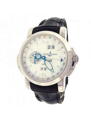 Ulysse Nardin GMT Perpetual 320-60 18K White Gold Leather Silver Men's Watch
