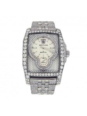 Breitling Bentley Flying B A28362 Stainless Steel Diamond Automatic Silver Watch
