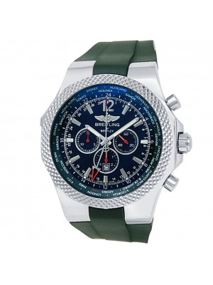 Breitling Bentley GMT Stainless Steel Green Rubber Auto Black Men's Watch A47362
