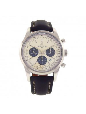 Breitling Transocean 01 Chronograph AB015212 Stainless Steel Black Leather Automatic Silver Men's Watch