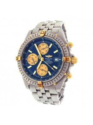 Breitling Crosswind B13355 Chrono Steel Yellow Gold Automatic Blue Men's Watch
