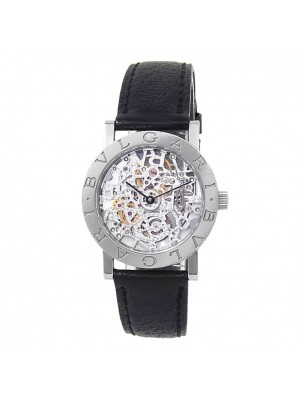 Bvlgari Bvglari 18k White Gold Leather Auto Skeleton Men's Watch BB W 33 GL SK P