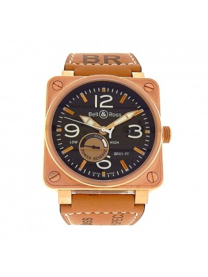 Men's 18k Rose Gold Bell & Ross BR01 Power Reserve Automatic Oversize Gold Watch