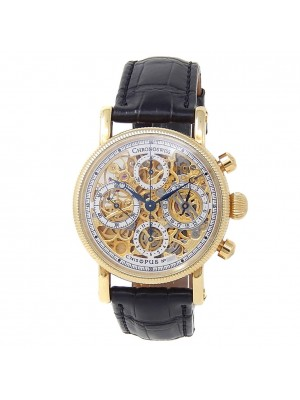 Chronoswiss Opus 18k Yellow Gold Leather Automatic Skeleton Men's Watch CH 7521