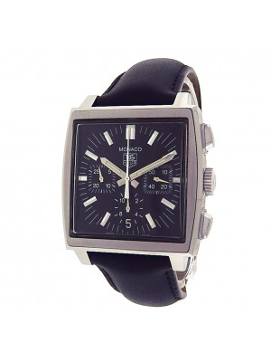 Tag Heuer Monaco CW2111-0 Stainless Steel Chronograph Black Leather Automatic Black Men's Watch