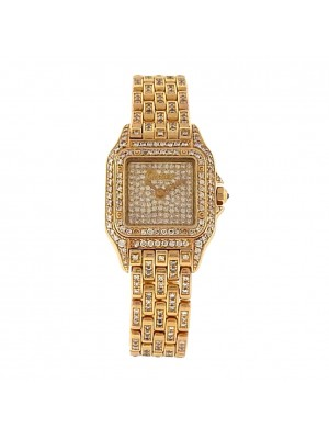 Cartier Santos 18k Yellow Gold Swiss Quartz Diamonds Pave Ladies Watch