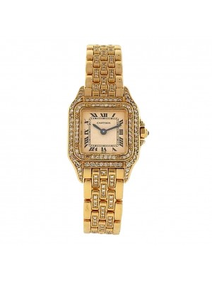 Cartier Panthere 18k Yellow Gold Quartz Diamonds White Ladies Watch