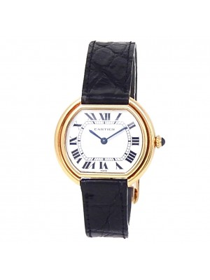 Cartier Ellipse 18k Yellow Gold Black Leather Manual White Ladies Watch