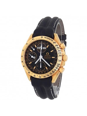 Omega Speedmaster Triple Date 18k Yellow Gold Leather Automatic Black Mens Watch