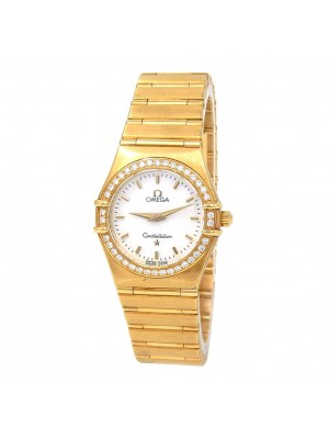 Omega Constellation 18k Yellow Gold Diamond Bezel Swiss Quartz Ladies Watch