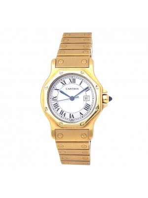 Cartier Santos Octagon 18k Yellow Gold Automatic Ladies Watch
