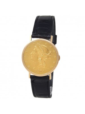 Mathey Tissot $20 Gold Coin 18k Yellow Gold Leather Manual Champagne Men's Watch