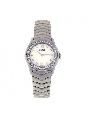 Ladies Stainless Steel Ebel Classic Wave Diamond Mother of Pearl Dress Watch