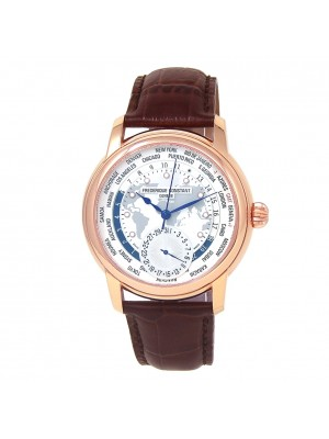 Frederique Constant Worldtimer Rose Gold Plated Watch Automatic FC-718WM4H4