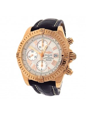 Breitling Chronomat Evolution H13356 18k Rose Gold Chrono Auto Silver Men Watch