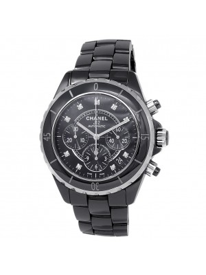 Chanel J12 Black Ceramic Chronograph Automatic Diamonds Black Ladies Watch H2419