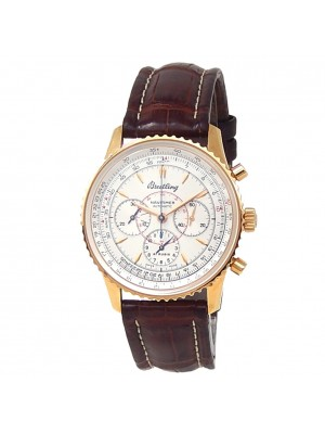Breitling Navitimer Montbrillant 18k Yellow Gold Auto Silver Mens Watch H30030.1